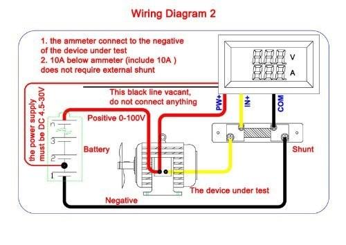 riorand digital led current voltage measurement dc 0 100v 50a ampere rh riorand com 12 volt hour meter wiring diagram 12 volt hour meter wiring diagram